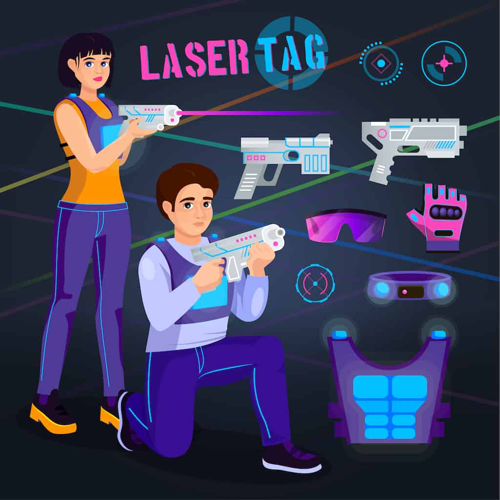 guns and vests in a laser tag game